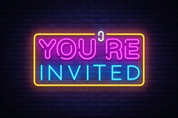You're,Invited,Neon,Text,Vector,Design,Template.,Neon,Logo,,Light
